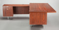 Furniture : American, AN AMERICAN DESK WITH SIX SECTIONS AND SHELVES, 20th century. Pressboard, plastic laminate, steel. 26 x 83 x 36 inches (66.0... (Total: 8 Items)
