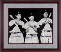 Autographs:Photos, Circa 1990 Mickey Mantle, Ted Williams & Joe DiMaggio MultiSigned Oversized Photograph....