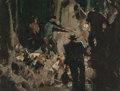 Mainstream Illustration, MEAD SCHAEFFER (American, 1898-1980). Camping Study. Oil onmasonite. 12 x 16 in.. Not signed. ...