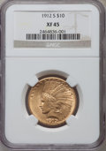 Indian Eagles: , 1912-S $10 XF45 NGC. NGC Census: (30/989). PCGS Population(32/865). Mintage: 300,000. Numismedia Wsl. Price for problem fr...