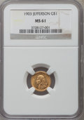 Commemorative Gold: , 1903 G$1 Louisiana Purchase/Jefferson MS61 NGC. NGC Census:(52/1994). PCGS Population (45/3033). Mintage: 17,500. Numismed...
