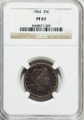 Proof Barber Quarters: , 1904 25C PR63 NGC. NGC Census: (33/182). PCGS Population (51/142). Mintage: 670. Numismedia Wsl. Price for problem free NGC...