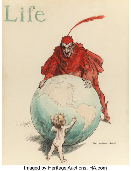 JAMES MONTGOMERY FLAGG (American, 1877-1960)The World: Good Versus Evil, LIFE magazine cover, July 23, 1908Ink and w... (Total: 2 Items)
