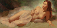 EARL MORAN (American, 1893-1984) Reclining Nude Woman Oil on canvas 18 x 36 in. Signed center