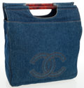 Luxury Accessories:Bags, Chanel Blue Denim Jumbo Tote Bag with Tortoise Handles. ...