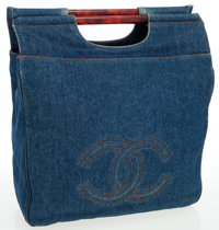 Chanel Blue Denim Jumbo Tote Bag with Tortoise Handles
