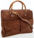 Luxury Accessories:Bags, Gucci Camel Suede Bag with Bamboo Handles . ...