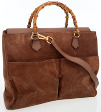 Gucci Camel Suede Bag with Bamboo Handles