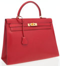 Luxury Accessories:Accessories, Hermes 35cm Rouge Vif Calf Box Leather Sellier Kelly Bag with Gold Hardware . ...