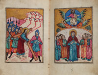 A manuscript of the four Gospels with 6 miniatures, illuminated concordances, marginal illustrations, and ornamented