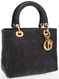 Luxury Accessories:Bags, Christian Dior Black Cannage Leather Lady Dior Tote Bag. ...