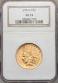 Indian Eagles, 1913-S $10 AU53 NGC....