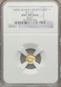 California Fractional Gold, Undated 25C Liberty Round 25 Cents, BG-221, R.3 -- Bent -- NGCDetails. Unc....