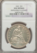 Seated Dollars, 1862 $1 -- Improperly Cleaned -- NGC Details. Unc....