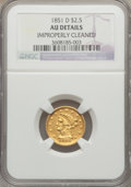 Liberty Quarter Eagles, 1851-D $2 1/2 -- Improperly Cleaned -- NGC Details. AU. Variety 15-N (formerly 14-M)....