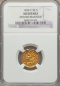 Classic Quarter Eagles, 1838-C $2 1/2 -- Mount Removed -- NGC Details. AU. Breen-6147, Variety 20, R.3....