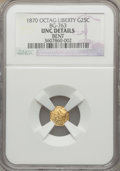 California Fractional Gold: , 1870 25C Liberty Octagonal 25 Cents, BG-763, Low R.4, -- Bent --NGC Details. UNC. NGC Census: (0/20). PCGS Population (7/7...