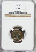 Proof Buffalo Nickels: , 1937 5C PR67 NGC. NGC Census: (324/41). PCGS Population (443/18).Mintage: 5,769. Numismedia Wsl. Price for problem free NG...
