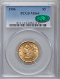 Liberty Half Eagles: , 1906 $5 MS64 PCGS. CAC. PCGS Population (179/94). NGC Census: (190/76). Mintage: 348,700. Numismedia Wsl. Price for problem...