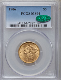 1906 $5 MS64 PCGS. CAC. PCGS Population (179/94). NGC Census: (190/76). Mintage: 348,700. Numismedia Wsl. Price for prob...
