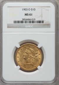 1903-O $10 MS61 NGC. NGC Census: (380/323). PCGS Population (184/436). Mintage: 112,771. Numismedia Wsl. Price for probl...