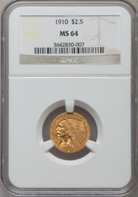 1910 $2 1/2 MS64 NGC. NGC Census: (791/182). PCGS Population (376/108). Mintage: 492,000. Numismedia Wsl. Price for prob...