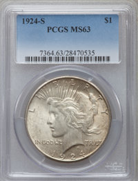 1924-S $1 MS63 PCGS. PCGS Population (1458/1271). NGC Census: (780/938). Mintage: 1,728,000. Numismedia Wsl. Price for p...