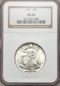 Walking Liberty Half Dollars: , 1947 50C MS65 NGC. NGC Census: (2759/745). PCGS Population(3649/1042). Mintage: 4,094,000. Numismedia Wsl. Price for probl...
