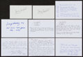 Autographs:Index Cards, Baseball Umpires Signed Index Cards With Lengthy Career Highlights Content Lot Of 9....