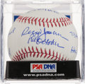 Autographs:Baseballs, Reggie Jackson Single Signed Stat Inscribed Baseball PSA Mint 9....