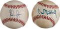 Autographs:Baseballs, Carl Hubbell And Nolan Ryan Single Signed Baseball Lot Of 2....