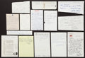 Autographs:Letters, Baseball Greats Signed Letters And Notes Lot Of 20....