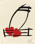 Prints, CLAES OLDENBURG (American, b. 1929). Musical Hearts (from the portfolio Artists for Obama), 2012. Screenprint in col...