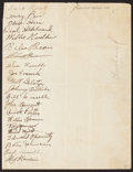 Autographs:Letters, 1933 Cleveland Indians Signed Team Sheet With Walter Johnson!...