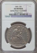 Seated Dollars: , 1845 $1 -- Improperly Cleaned -- NGC Details. AU. NGC Census:(9/102). PCGS Population (42/69). Mintage: 24,500. Numismedia...