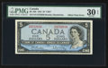 Canadian Currency: , BC-39b $5 1954 Offset Print Error. ...
