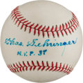 "Baseball Collectibles:Balls, Charles Gehringer ""M.V.P. 37"" Single Signed Baseball...."