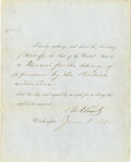 "Autographs:U.S. Presidents, President Ulysses S. Grant Signed Document, partly-printed DS, one page, 8"" x 10"", Jan. 5, 1870, directing the Secretary of ... (Total: 1 Item)"