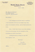 "Autographs:U.S. Presidents, Good Association John F. Kennedy Typed Letter Signed on U.S.Senate, one page, 6.25"" 9.25"", June 5, 1956, to his future spec...(Total: 1 Item)"