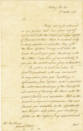 """Autographs:Military Figures, Richard Howe Historic Manuscript Letter Signed """"Howe,"""" two pages, 8"""" x 12.5"""", front and verso. To General Elliot. Writte... (Total: 1 Item)"""