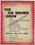 "Music Memorabilia:Tickets, Beatles/Joe Brown Show Ticket. This comp ticket is from the July27, 1962, performance of the ""Joe Brown Show,"" featuring Jo...(Total: 1 Item)"