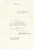 """Autographs:U.S. Presidents, Herbert Hoover Typed Letter Signed, one page on personalletterhead, 7.25"""" x 10.5"""", New York City, October 19, 1944, toAlle... (Total: 1 Item)"""