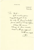 "Autographs:U.S. Presidents, Richard Nixon Autograph Letter Signed ""RN,"" one page, 7.25""x 10.5"". Federal Plaza, New York City, July 29, 1985. To Bil...(Total: 1 Item)"