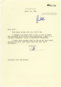"Autographs:U.S. Presidents, Richard Nixon Typed Letter Signed ""RN, one page, 7.25"" x10.5"". Woodcliff Lake, N.J., April 12, 1991. To Hon. William Hy...(Total: 1 Item)"