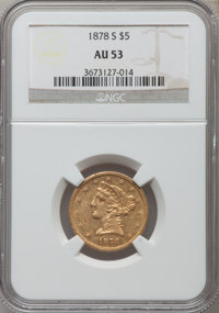 1878-S $5 AU53 NGC. NGC Census: (33/363). PCGS Population (15/140). Mintage: 144,700. Numismedia Wsl. Price for problem...
