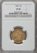1836 $5 VF30 NGC. NGC Census: (37/1045). PCGS Population (37/692). Mintage: 553,147. Numismedia Wsl. Price for problem f...