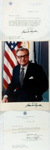 Autographs:Statesmen, Nelson Rockefeller (1908-1979). Color Photograph and Typed LetterSigned. December 31, 1975. Photo measures 8 x 11 inches. S...