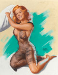 """Pin-up and Glamour Art, EARL MORAN (American, 1893-1984). """"There is No Loser in a PillowFight"""" (portrait of Marilyn Monroe), Brown & Bigelow cale...(Total: 3 Items)"""