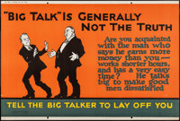 """""""Big Talk"""" Is Generally Not the Truth (Mather and Company, 1923). Motivational Poster (28"""" X 41.5"""")..."""