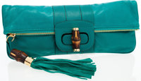 Gucci Sea Green Leather Clutch Bag with Bamboo Turnlock